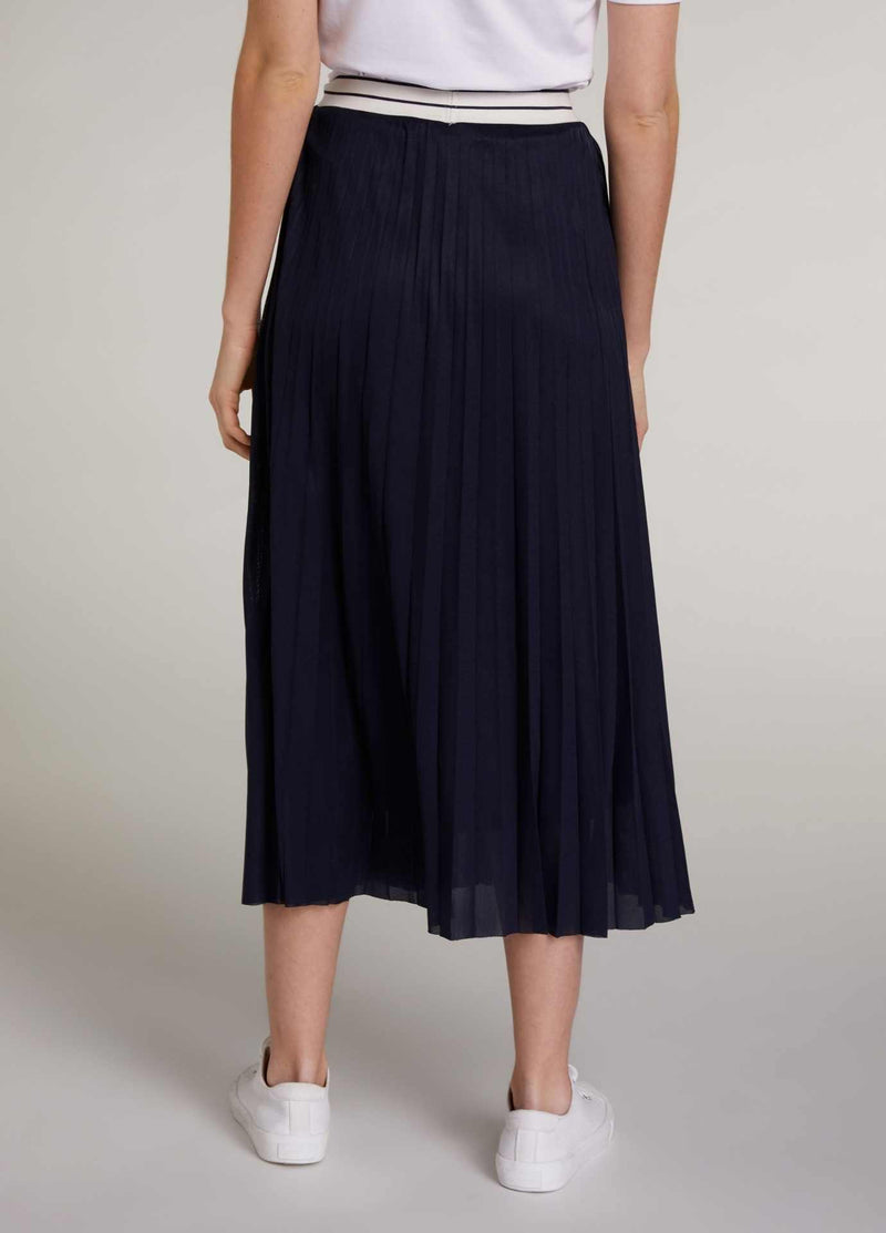 Oui-72828-Navy-Womens-Pleated-Midi-length-Skirt-From-The-Back