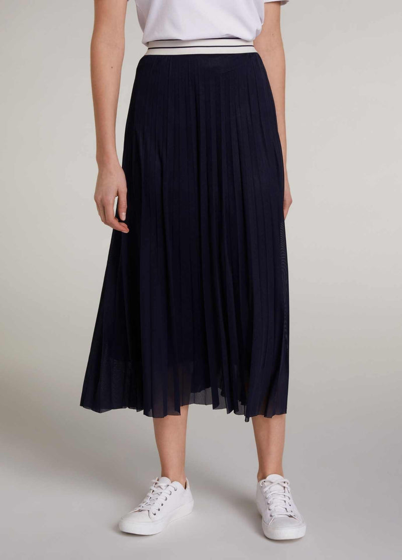 Oui-72828-Navy-Womens-Pleated-Midi-length-Skirt