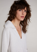 Oui-71859-Off-White-Casual-Ladies-Hoodie-Jumper-V-Neckline-RibbonRouge