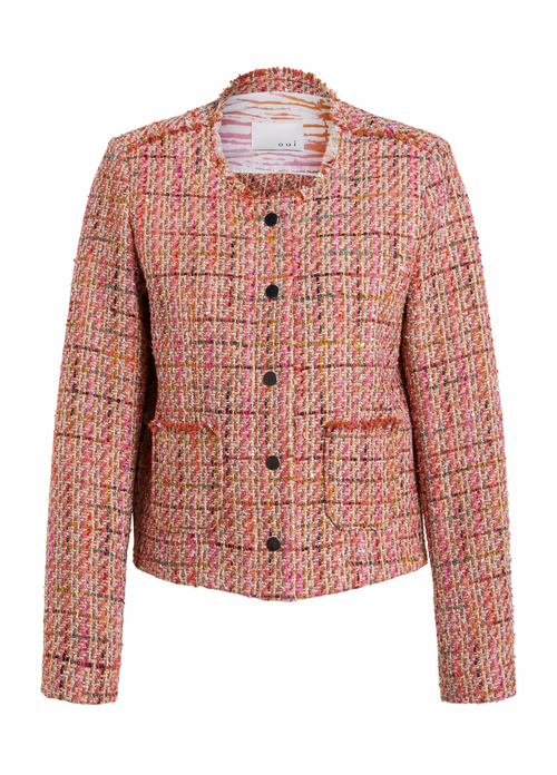 Oui-Orange-Tweed-Boucle-Jacket-RibbonRouge