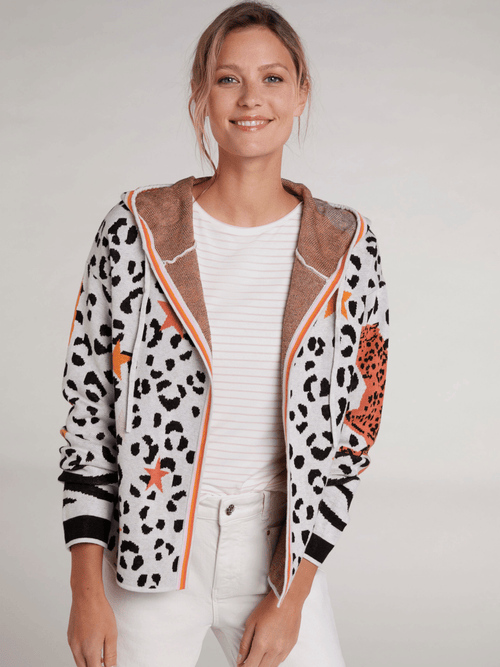Oui-SS21-72509-Cotton-Ladies-Casual-Cardigan-With-Hood-In-Leopard-Print-And-Orange-Tigers-In-Nuetral-Stone-Colour-On-Model-Ribbon-Rouge-Ireland