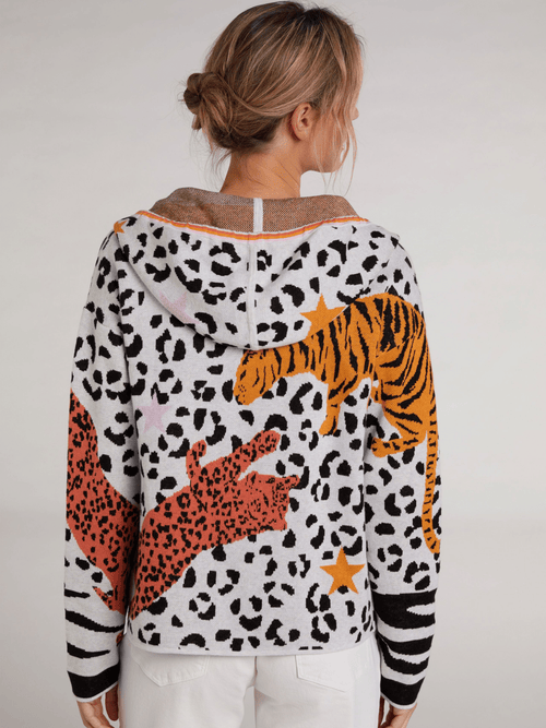 Oui-SS21-72509-Cotton-Ladies-Hooded-Leapard-Print-Cardigan-With-Orange-Tigers-Back-Look-Ribbon-Rouge-Ireland