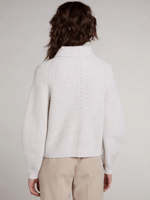 Oui-SS21-Ladies-Oui-Stand-Up-Collar-Cream-Cardigan-From-The-Back-Ribbon-Rouge-Ireland