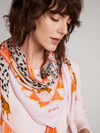 Oui-SS21-Oui-Soft-Leopard-_-Tiger-Orange-Print-Scarf-On-Model-Close-Up-Ribbon-Rouge-Ireland