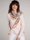 Oui-SS21-Oui-Soft-Leopard-_-Tiger-Orange-Print-Scarf-On-Model-Ribbon-Rouge-Ireland