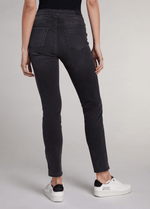 Oui-Slim-Leg-Ladies-Dark-Grey-Denim-Jeggings-71898-Back-RibbonRouge