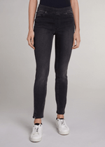 Oui-Slim-Leg-Ladies-Dark-Grey-Denim-Jeggings-71898-Front-RibbonRouge