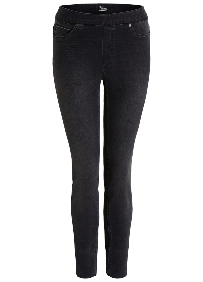 Oui-Slim-Leg-Ladies-Dark-Grey-Denim-Jeggings-71898-RibbonRouge-Online