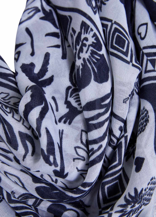 Oui-Womens-Oui-Navy-Tropical-Print-Summer-Scarf-Close-Up