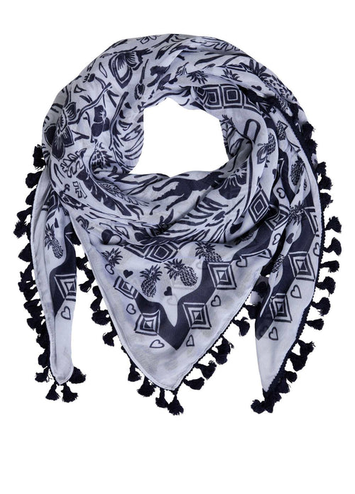 Oui-Womens-Oui-Navy-Tropical-Print-Summer-Scarf-With-Tassels