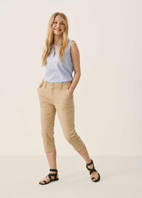 Part Two 30306051 Capri-Style Beige Cropped Womens Trousers
