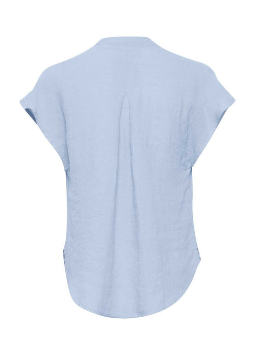 Part-Two-30306053-Light-Blue-Linen-Ladies-Short-Sleeve-Top-From-Back