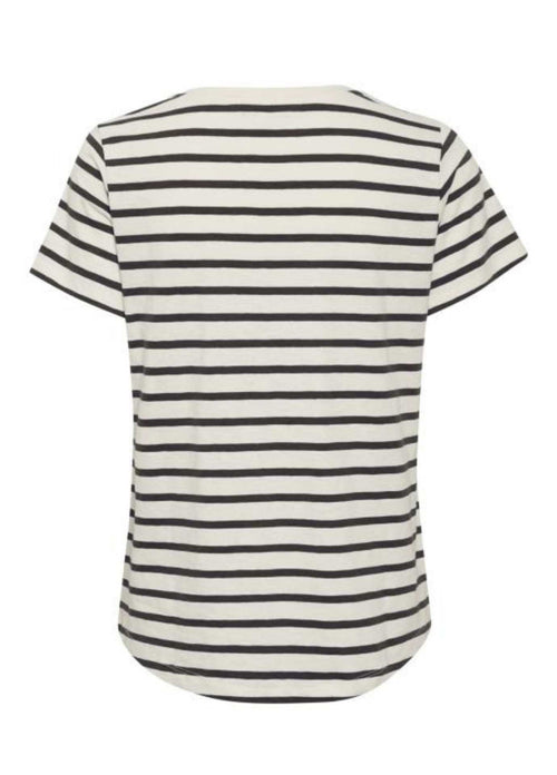 Part-Two-Gesina-Womens-Black-And-White-Stripe-Cotton-Top-With-Short-Sleeve-From-Back