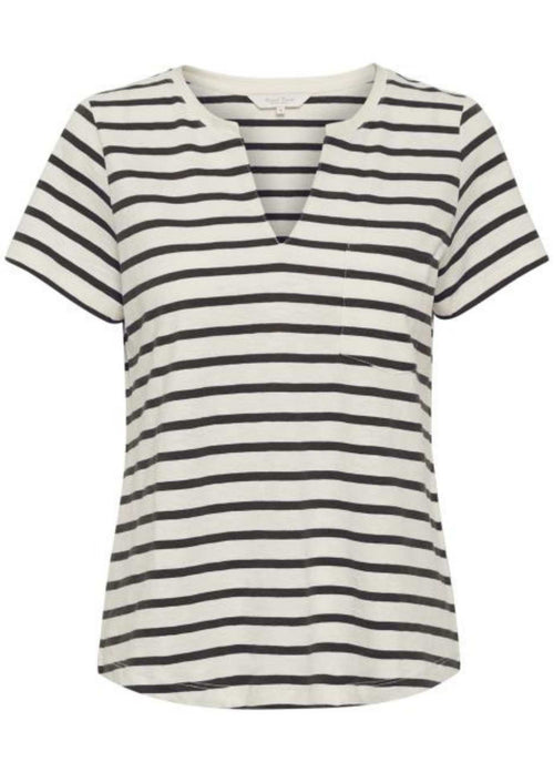 Part-Two-Gesina-Womens-Black-And-White-Stripe-Cotton-Top-With-Short-Sleeve