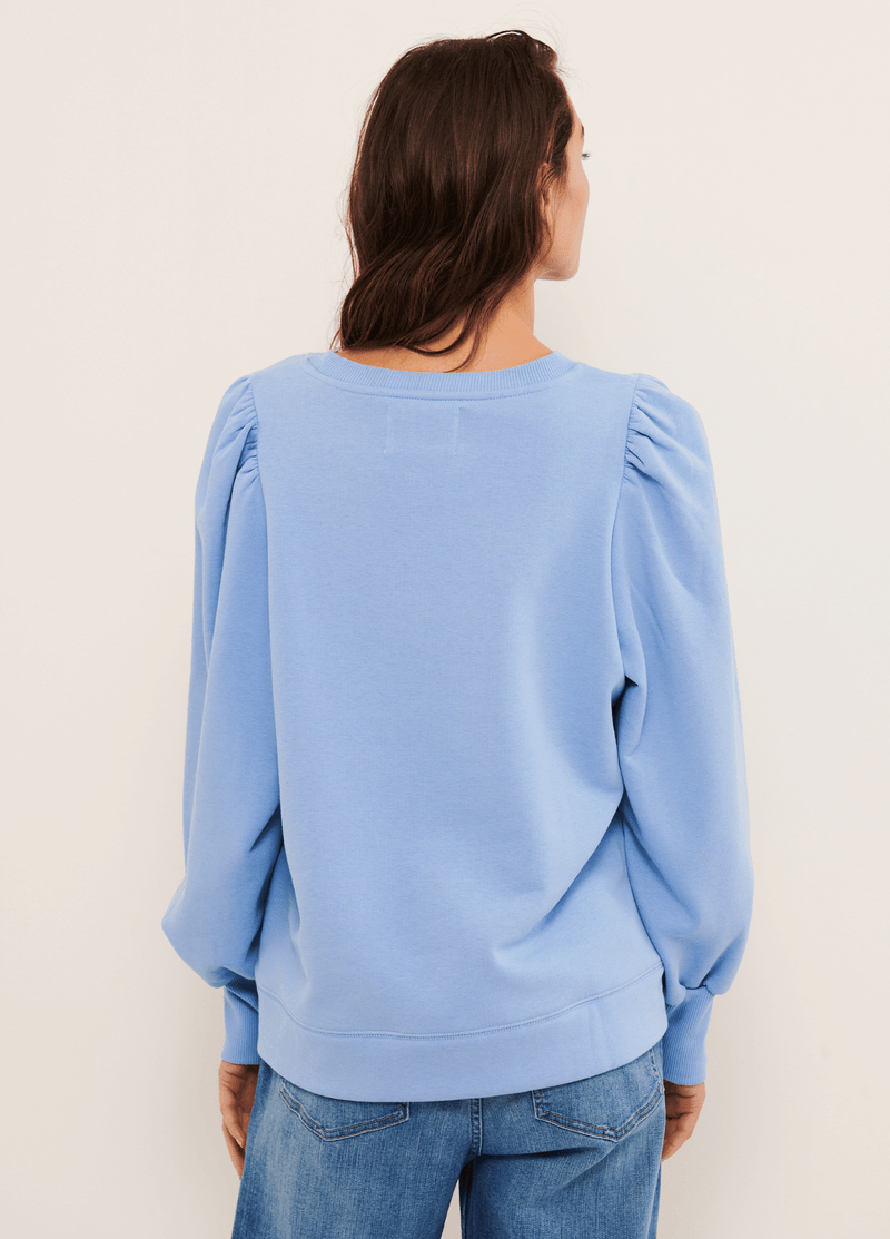 Part-Two-Gisa-Blue-Puff-Sleeve-Womens-Sweatshirt-Jumper-From-The-Back-Ribbon-Rouge