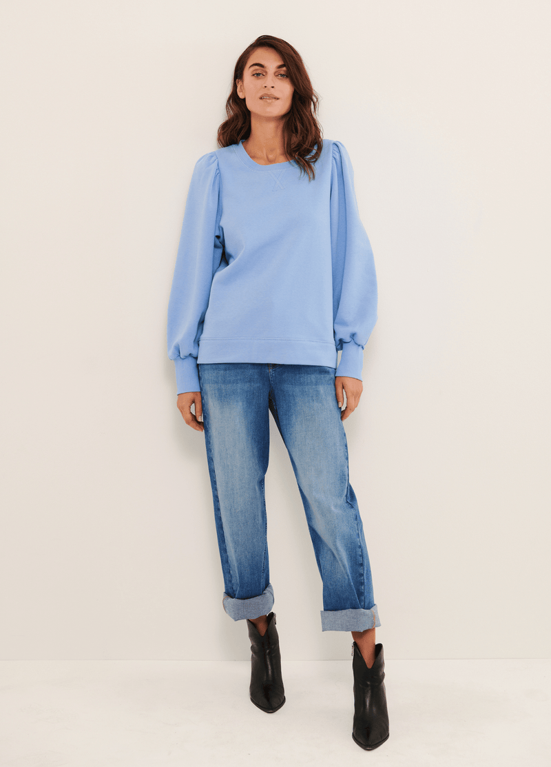 Part-Two-Gisa-Blue-Puff-Sleeve-Womens-Sweatshirt-Jumper-Ribbon-Rouge-Ireland.