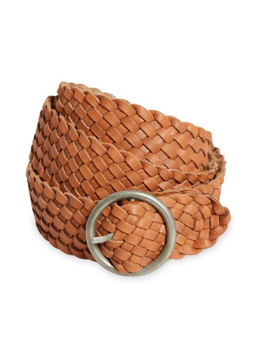 Part-Two-Hande-PW-Basket-Weave-Ladies-Brown-Belt-With-Round-Metal-Buckle-30305987-Ribbon-Rouge