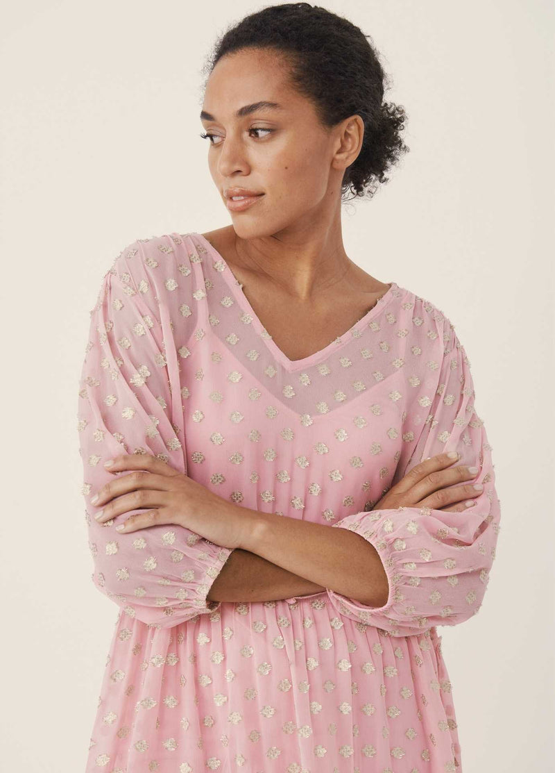 Part-Two-Hawra-Pink-Loose-Fit-V-Neck-Womens-Dress-For-Daytime