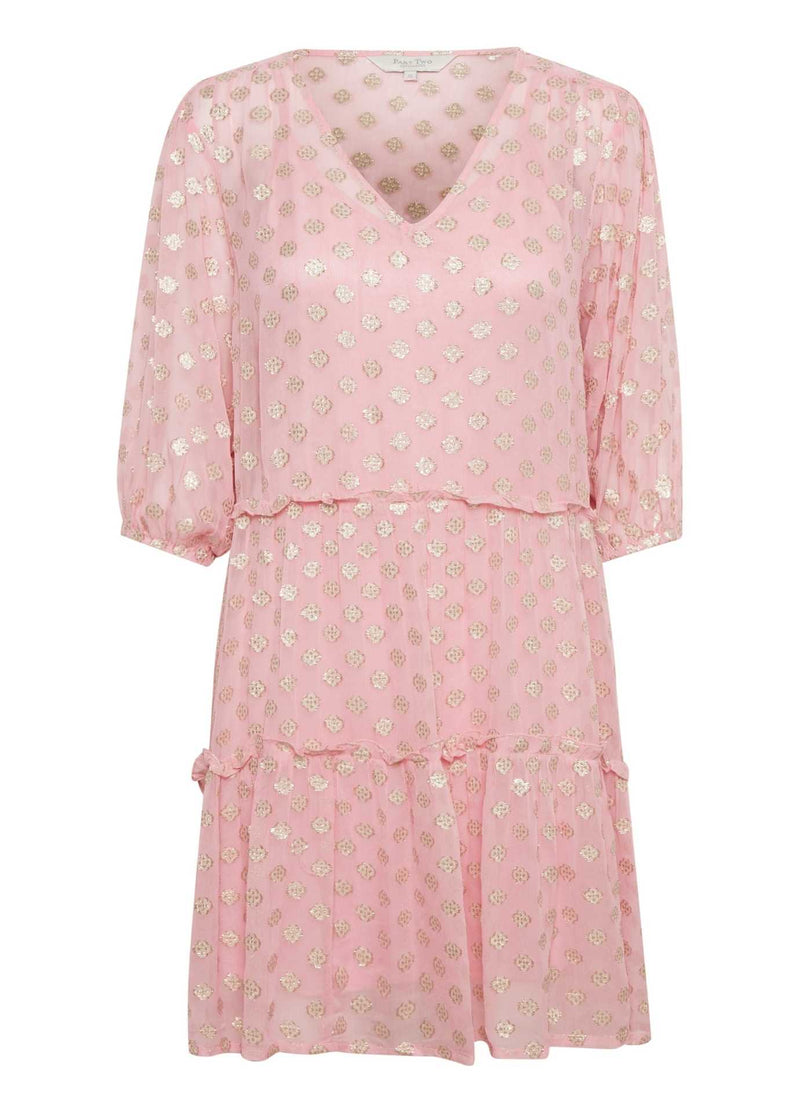 Part-Two-Hawra-Pink-Loose-Fit-V-Neck-Womens-Dress-With-Long-Puff-Sleeve