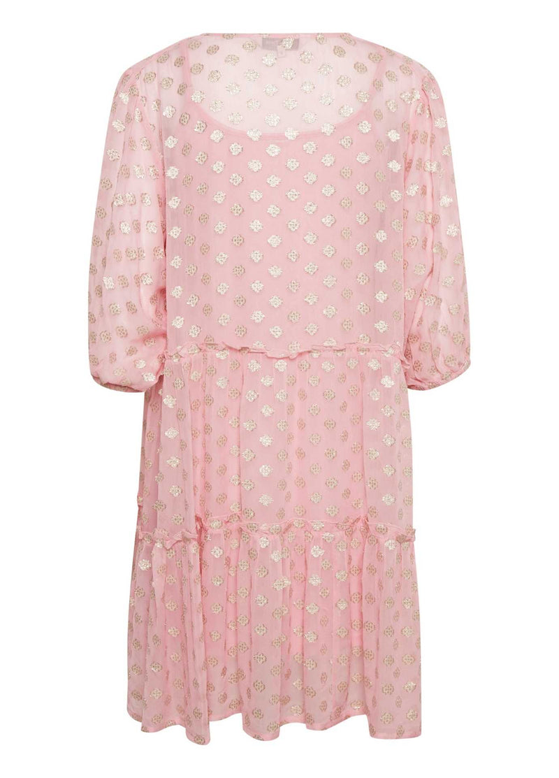 Part-Two-Hawra-Pink-Loose-Fit-V-Neck-Womens-Dress-With-Long-Puff-Sleeve-From-Back