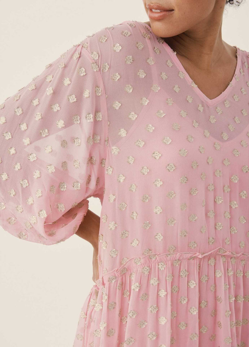 Part-Two-Hawra-Pink-Relaxed-Fit-Oversized-Dress-For-Woman-With-Balloon-Sleeve
