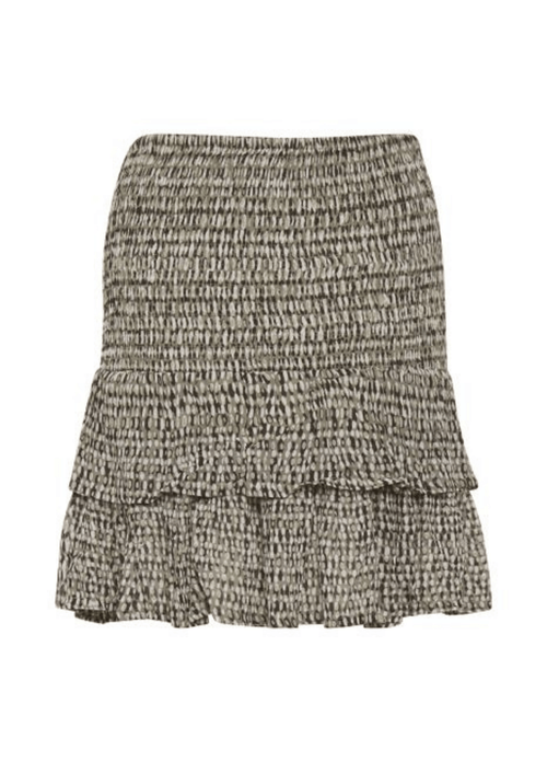 Part-Two-HeiPW-Mini-Khaki-Print-Womens-Short-Layer-Skirt-From-The-Back-Ribbon-Rouge