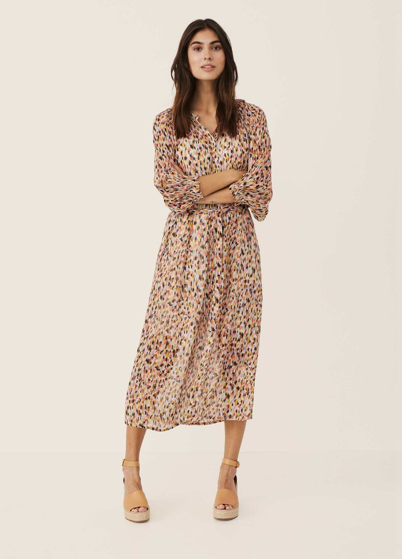 Part-Two-Multi-colour-Print-Long-Womens-Daytime-Dress-With-Long-Sleeve