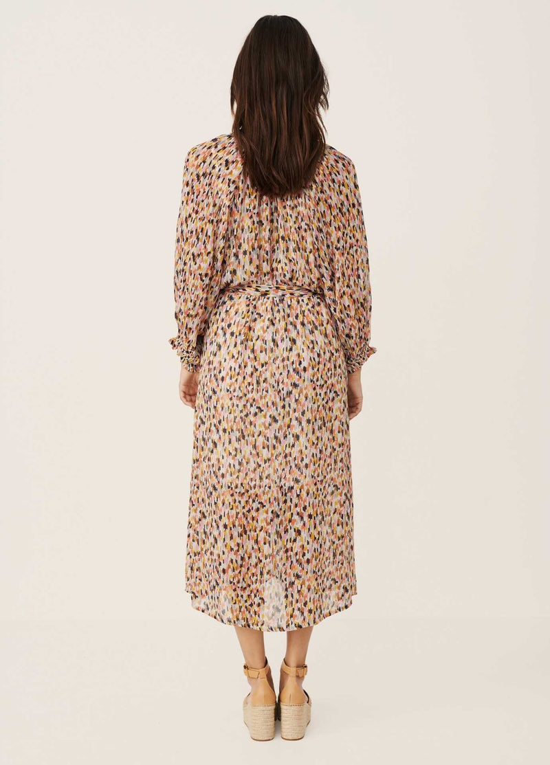 Part-Two-Multi-colour-Print-Long-Womens-Daytime-Dress-With-Long-Sleeves-From-Back