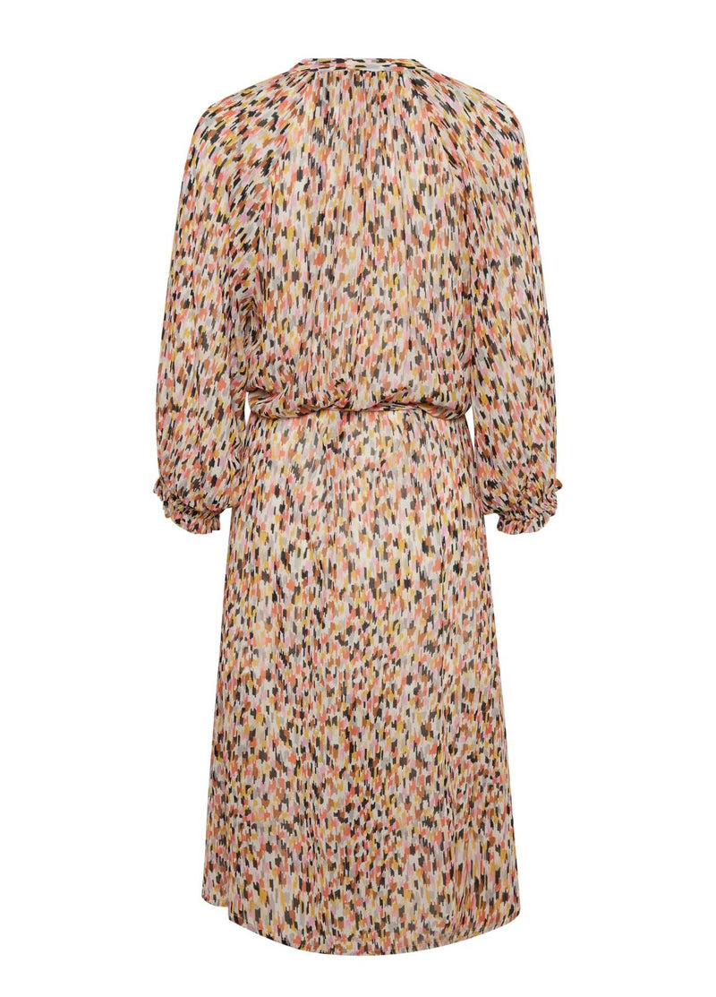 Part-Two-Multi-colour-Print-Long-Womens-Dress-Relaxed-fit-With-Sleeves-From-Back
