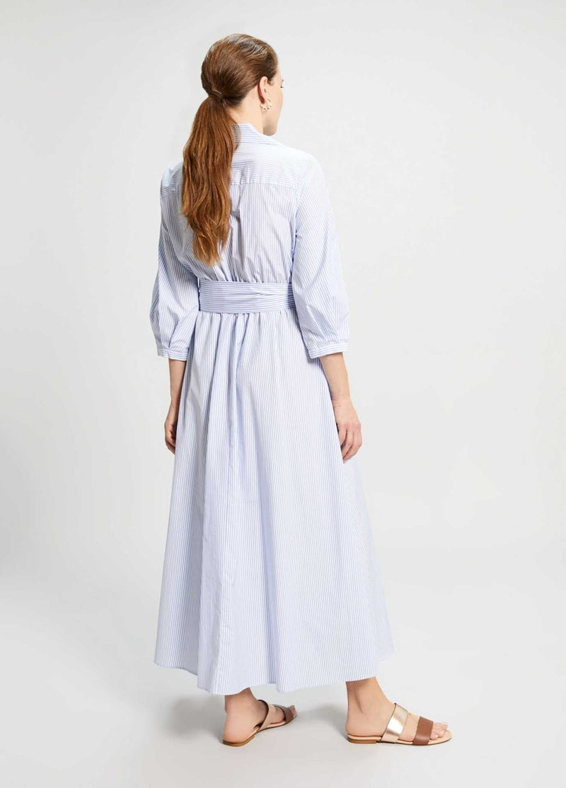 Penny-Black-Dipinto-Light-Blue-Poplin-Womens-Cotton-Maxi-Dress-From-Back