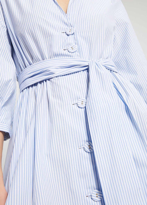 Penny-Black-Dipinto-Light-Blue-Stripe-Womens-Cotton-Maxi-Shirt-Dress-Belt-Detail