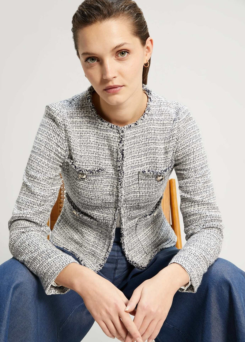 Penny-Black-Giocare-Blue-Womens-Boucle-Jacket-Model
