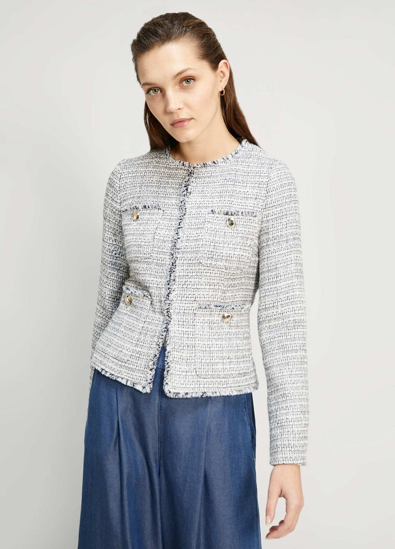 Penny-Black-Giocare-Blue-Womens-Short-Summer-Boucle-Jacket-From-The-Back