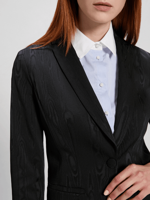 Penny-Black-Smart-Ladies-Workwear-Black-Blazer-Close-up-Ribbon-Rouge