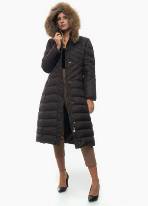 Penny Black Formica Chocolate Brown Quilted Coat With Hood
