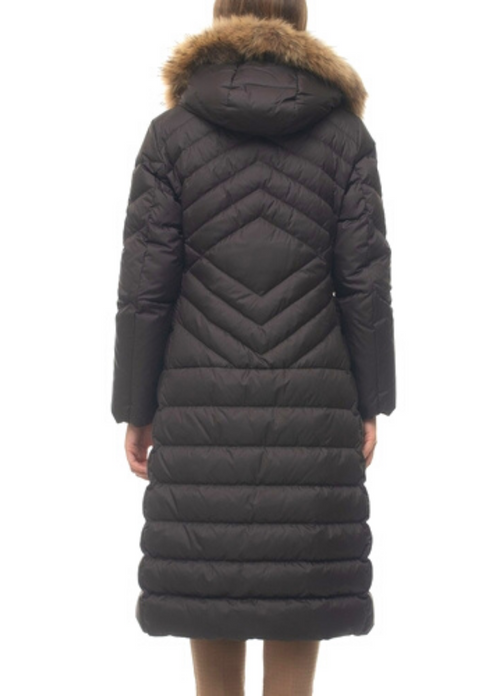 Penny Black Formica Chocolate Brown Quilted Coat With Hood Back