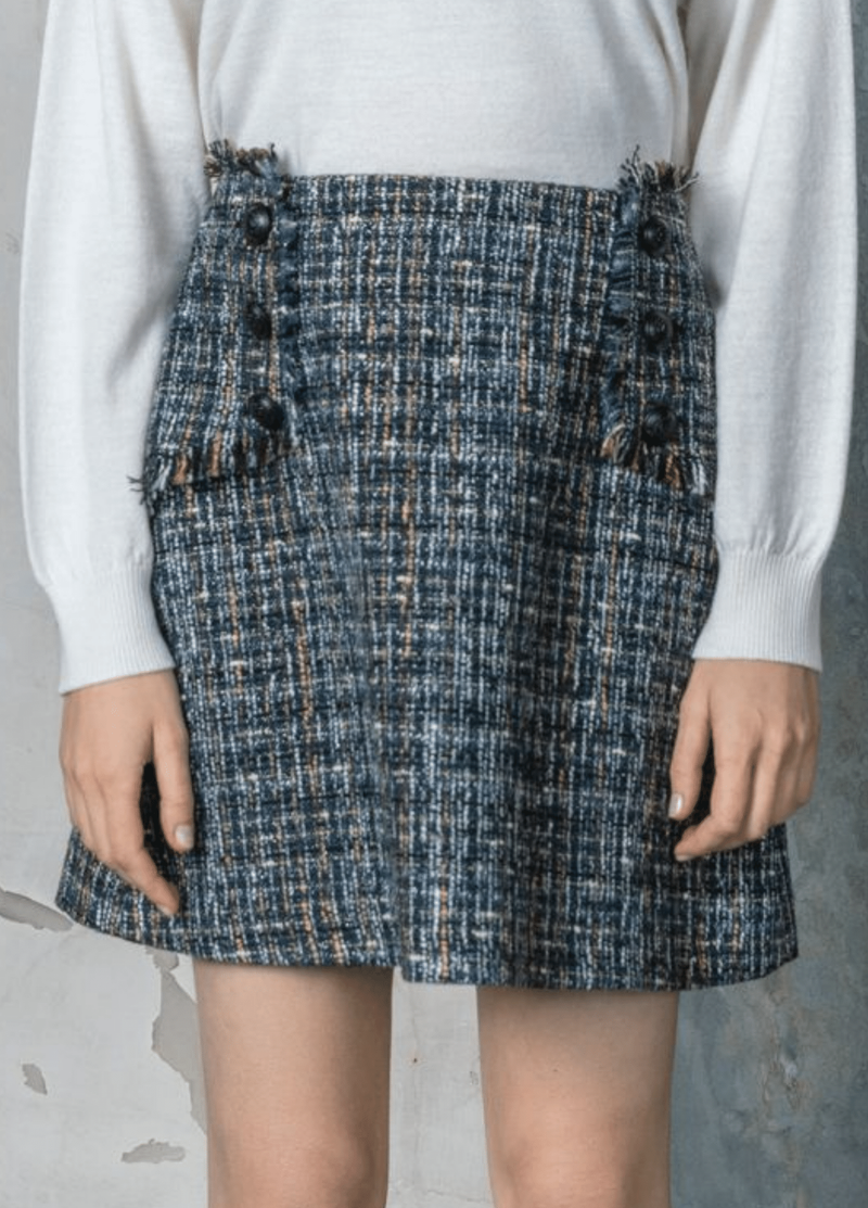 Birelin Tweed Style Button Detail Short Skirt - Ribbon Rouge Boutiques