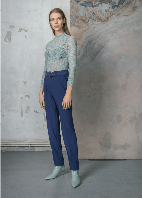 Birelin Blue Trousers With Belt - Ribbon Rouge Boutiques