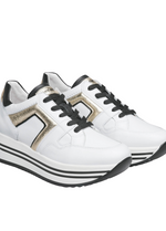 Nero Giardini White/Gold Leather Platform Runners