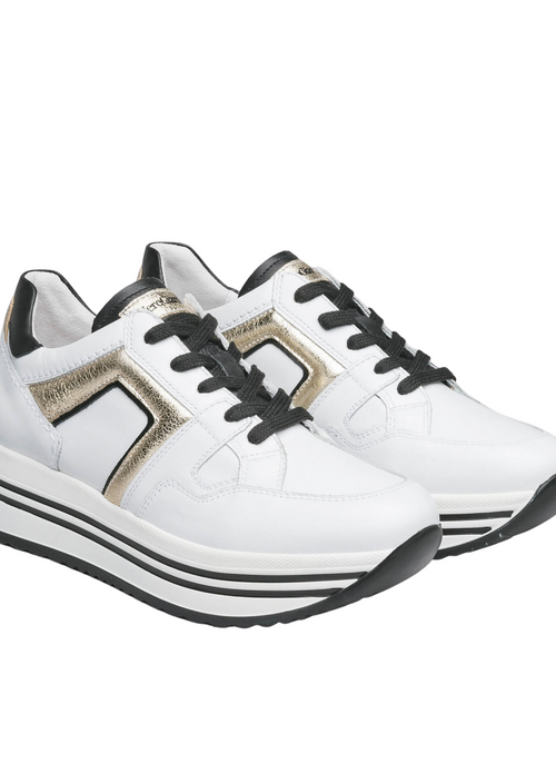 Nero Giardini White/Gold Leather Platform Runners - Ribbon Rouge Boutiques