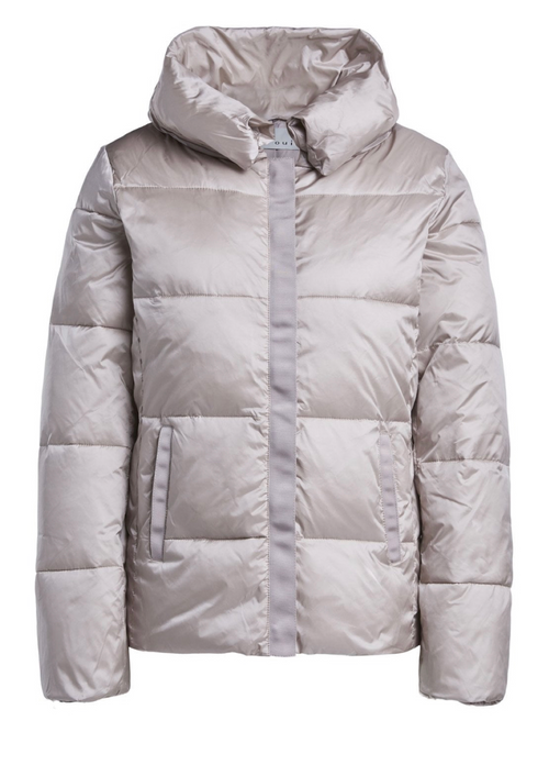 Oui Ladies Light Beige Puffer Jacket - Ribbon rouge