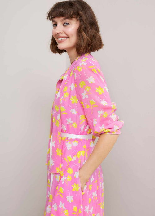 Sisters Ricki Pink & Yellow Retro Print Midi Length Shirt Dress