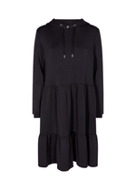 SoyaConcept Banu Frill Layered Ladies Black Long Sleeve Hoodie Style Dress - Ribbon Rouge