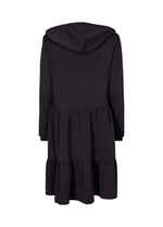 SoyaConcept Banu Frill Layered Ladies Black Long Sleeve Hoodie Style Dress from The Back - Ribbon Rouge