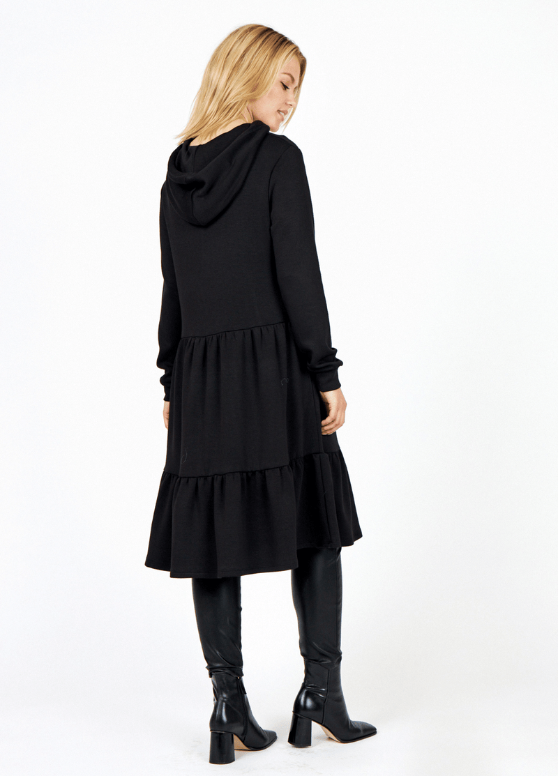 SoyaConcept Banu Frill Layered Ladies Black Long Sleeve Casual Day Dress From The Back - Ribbon Rouge