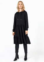 SoyaConcept Banu Frill Layered Ladies Black Long Sleeve Day Dress - Ribbon Rouge