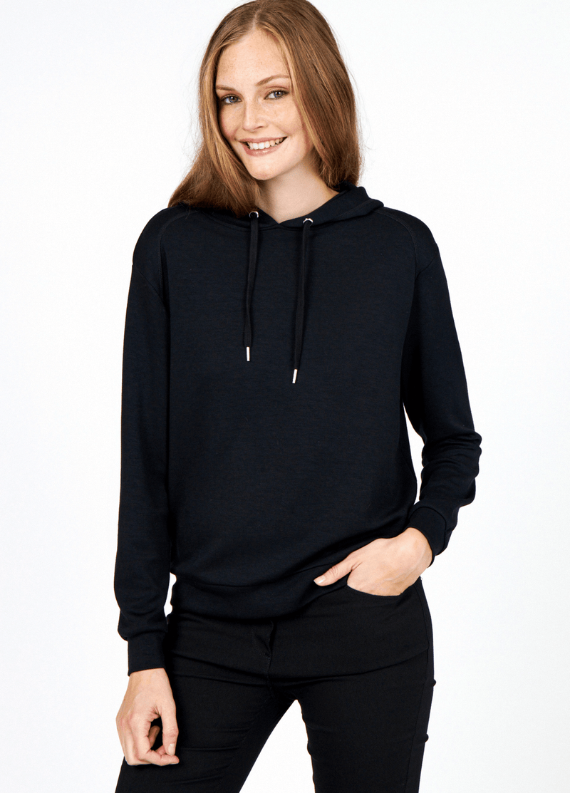 SoyaConcept Banu Soft Ladies Casual Black Hoodie Jumper - Ribbon Rouge