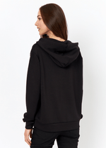 SoyaConcept Banu Soft Black Ladies Casual Hoodie Jumper At The Back - Ribbon Rouge
