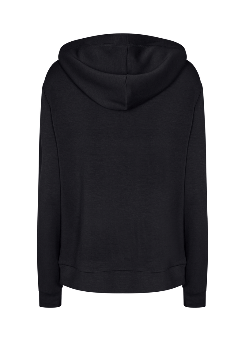 SoyaConcept Banu Soft Black Ladies Casual Hoodie Jumper Hood At Back - Ribbon Rouge
