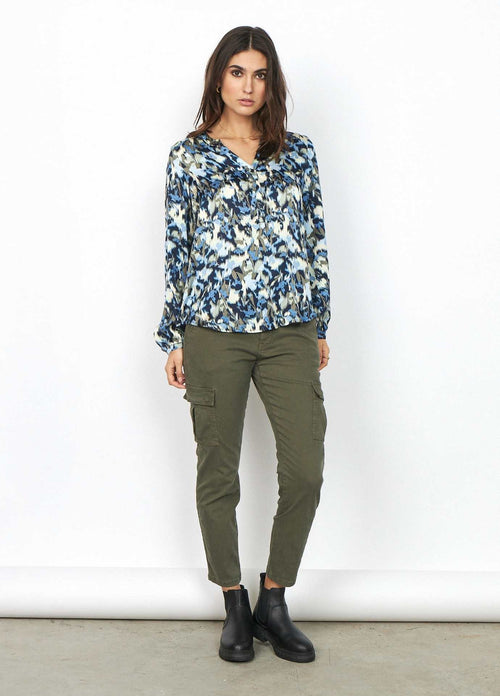 Soya concept printed casual womens blouse with Khaki trousers
